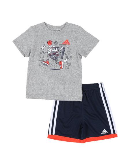 Adidas - 2 Pc Graphic Tee & Cotton Shorts Set (2T-7)