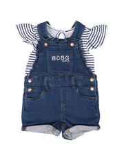Sets - 2 Pc Stripe Logo Top & Denim Shortalls Set (Infant)-2497730