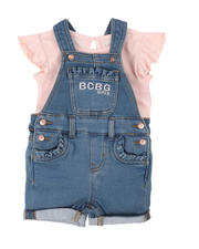 Infant & Newborn - 2 Pc Logo Ruffle Top & Denim Shortalls Set (Infant)-2498398