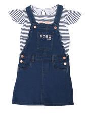 BCBGirls - 2 Pc Stripe Logo Top & Denim Skirtall Set (7-16)-2498002