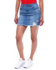 Bottoms - 5 Pocket Distressed Raw Edge Denim Skirt-2499537
