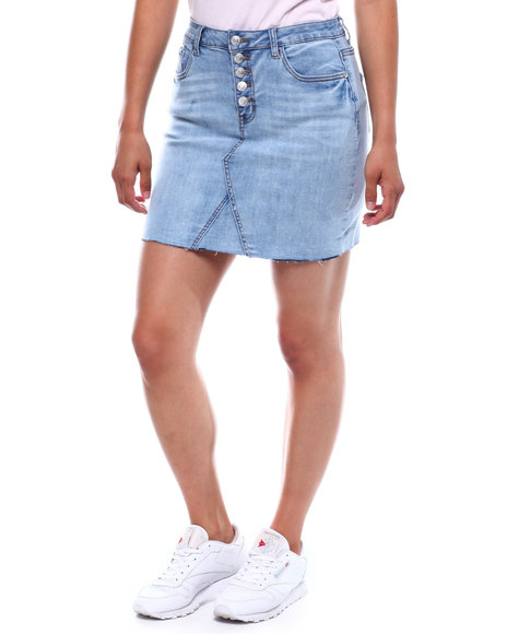 Fashion Lab - Exposed Button Denim Skirt