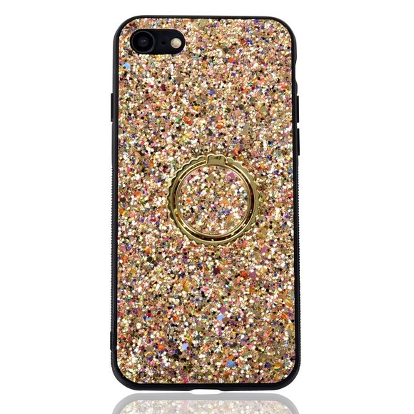Buyers Picks - Multi Gold Glitter Phone Case With Gold Ring Stand- IPhone 7/8