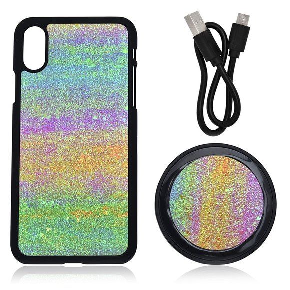 Buyers Picks - 2PC Set; Multi Color iPhone X Phone Case & Wireless Charger With USB Cable