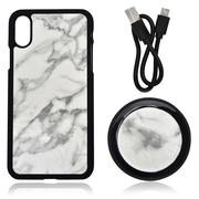 Misc. - 2PC Set; White Marble iPhone X Phone Case & Wireless Charger With USB Cable-2498610