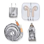 Misc. - White Marble 4PC Charging Set; USB Power Adapter. Wired Earbuds. Lightning USB Cable. USB Car Charger-2498614