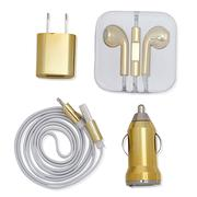Misc. - Gold 4PC Charging Set; USB Power Adapter. Wired Earbuds. Lightning USB Cable. USB Car Charger-2498615