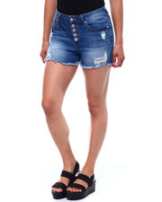 Fashion Lab - Exposed Button Distressed Short-2499529