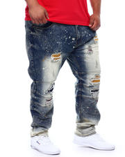 Big & Tall Faves - Shredded Jeans With Paint Splatter Spots (B&T)-2498190