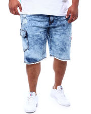 Big & Tall Faves - Distressed Cargo Pocket Denim Shorts (B&T)-2499430