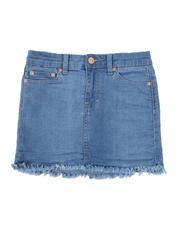 Girls - Denim Fray Hem Skirt (7-16)-2500196