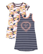 Kensie Girl - Jada Camo Print & Wild & Free Stripe 2 Pc Dress Set (7-16)-2500236