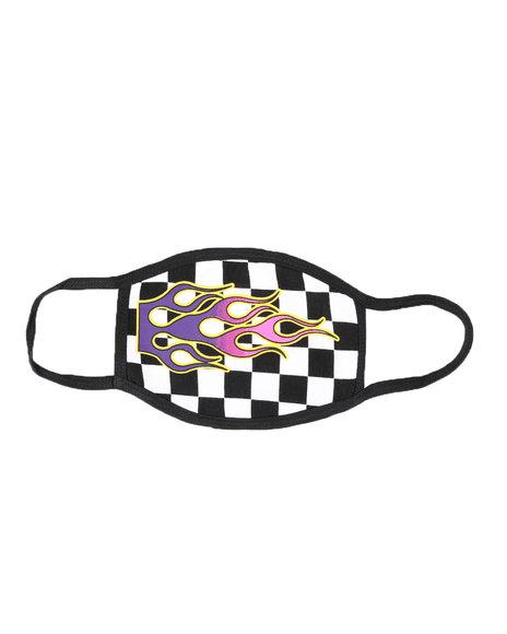 Hard Turn - Flames Checker Face Mask (Unisex)