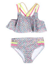 Swimwear - 2 Pc Iridescent Scale Print Strappy Bikini Set (2T-6X)-2497380
