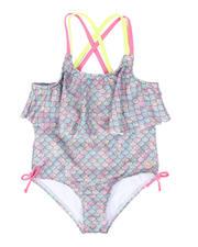 Girls - Iridescent Scale Print Flounce One Piece Swimsuit (2T-6X)-2497513