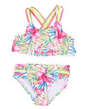 Girls - 2 Pc Floral Print Strappy Bikini Set (2T-6X)-2497689