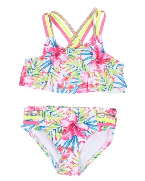 BCBGirls - 2 Pc Floral Print Strappy Bikini Set (2T-6X)