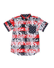 Button-downs - Graphic Print Woven Shirt W/ Pocket (8-20)-2502345