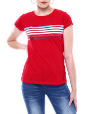 Fashion Lab - Stripe Front Crew Neck T-shirt-2501815
