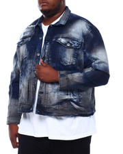 Denim Jackets - Acid Wash Distressed Denim Jacket (B&T)-2500730
