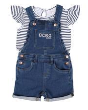 Girls - 2 Pc Stripe Logo Top & Denim Shortalls Set (4-6X)-2502882