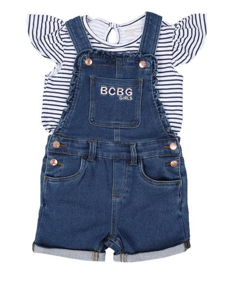 BCBGirls - 2 Pc Stripe Logo Top & Denim Shortalls Set (4-6X)