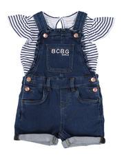 BCBGirls - 2 Pc Stripe Logo Top & Denim Shortalls Set (2T-4T)-2502887