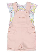 Sets - 2 Pc Floral Top & Twill Shortalls Set (4-6X)-2502895