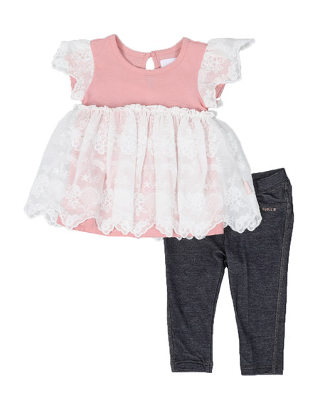 BCBGirls - 2 Pc Lace Tunic & Leggings Set (Infant)