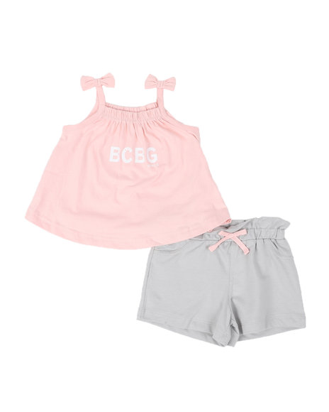 BCBGirls - 2 Pc Logo Tie Sleeve Tank Top & Shorts Set (2T-4T)