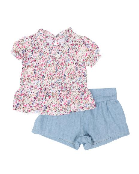 BCBGirls - 2 Pc Floral Smocked Peplum Top & Chambray Shorts Set (Infant)
