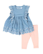 Infant & Newborn - 2 Pc Chambray Top & Leggings Set (Infant)-2502994
