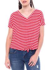 Fashion Lab - Stripe V-Neck Tie Front S/S Tee-2504410