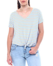 Fashion Lab - Stripe V-Neck Tie Front S/S Tee-2504445