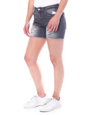 Women - Distressed Mid Rise Denim Roll Cuff Short-2504470