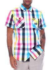 Button-downs - PLAID POP NATION SS BUTTON DOWN SHIRT-2503347