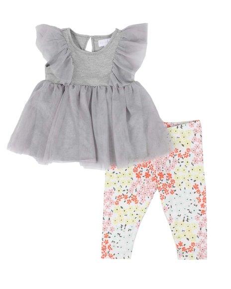 BCBGirls - 2 Pc Ruffle Yoke Blouse & Printed Leggings Set (Infant)