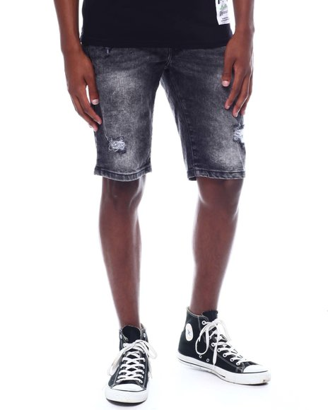 WT02 Mens Rip Off Stretch Denim Shorts Shorts