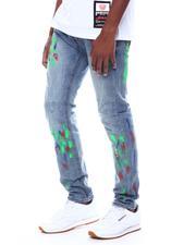 Buyers Picks - Light Blue Neon Paint Splatter Stretch Jean-2505565