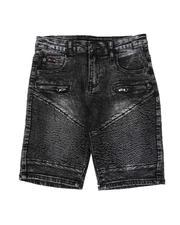Arcade Styles - Washed Cut & Sew Moto Denim Shorts (8-18)-2505987