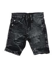 Arcade Styles - Washed Stretch Moto Denim Shorts (2T-4T)-2507330
