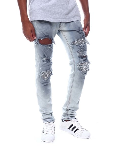 KDNK - PINTUCKED PATCHED SKINNY JEANS