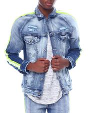 Denim Jackets - STRIPE DETAIL DENIM JACKET-2506623