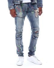 Jeans - RIPPED JEANS W COLOR SPLATTER PAINT-2506844
