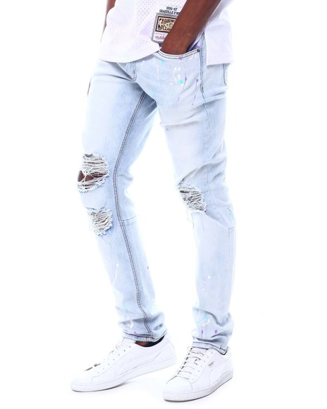 KDNK - DESTROYED JEANS WITH MULTI PAINT SPLASH