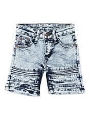 Arcade Styles - Crinkled Cut & Sew Moto Stretch Denim Shorts (2T-4T)-2507747