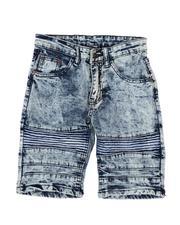 Arcade Styles - Crinkled Cut & Sew Moto Stretch Denim Shorts (8-18)-2507761