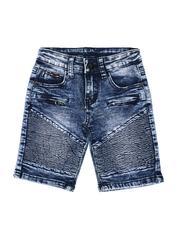 Arcade Styles - Washed Cut & Sew Moto Denim Shorts (2T-4T)-2507772