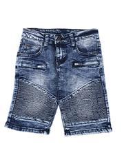Arcade Styles - Washed Cut & Sew Moto Denim Shorts (4-7)-2507780