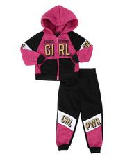 La Galleria - 2 Pc Marled Fierce Strong Girl Color Block Zip Front Hoodie & Jogger Pants Set (2T-4T)-2508532